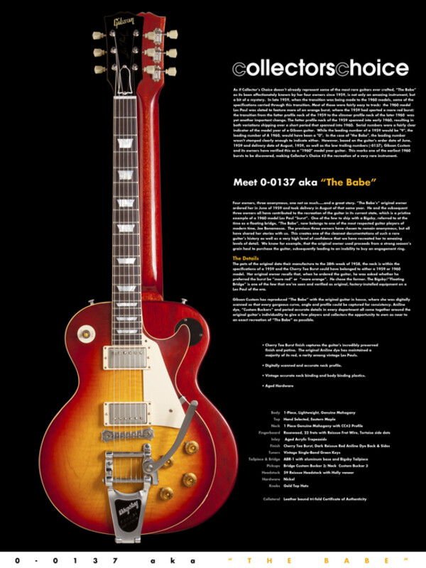 Gibson Collector's Choice #3 'Babe' 1960 Les Paul Reissue